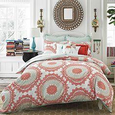 Anthology™ Bungalow 3-Piece Full/Queen Comforter Set - coral and aqua blues