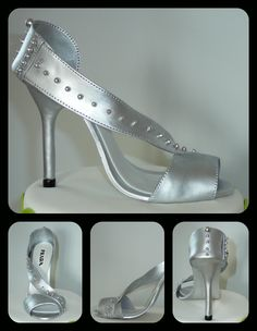 Silver high heel shoe - I made this shoe to go on top of a cake. The high heel shoe is made out of fondant. I used silver luster dust with vodka to gives this shinny look. The shoe template I used is the same that I put here on CC. You can see the shoe template on my photo gallery. I just had the top part to reproduced the weeding shoe of the customer.