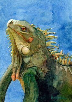 ACEO ATC Iguana Lizard Reptile in profile Third Eye by bdelpesco