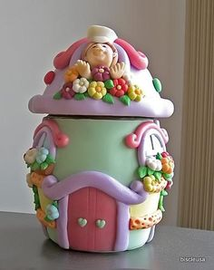 / baker hous, fimo, jar cakes, cooki jar, colors, polym clay, cookie jars, bakers, cookie jar cake