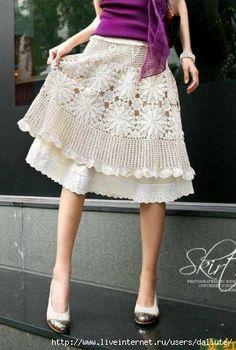 Lacy crochet skirt.