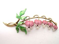 brooches, gold enamel, flower pins, 14k gold, heart flower, bleeding hearts, bleed heart, pin brooch, enamel pearl