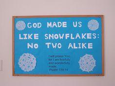 Church Bulletin Board - lots more snowflakes