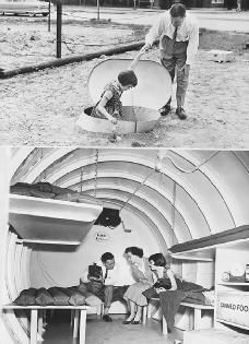 Heightened Cold War fears in the 1950s and 1960s prompted some Americans to build bomb shelters, which would protect them in the event of a nuclear attack. ©    Bettmann/Corbis. Reproduced by permission.  Full Text: COPYRIGHT 2005 Gale, Cengage Learning.