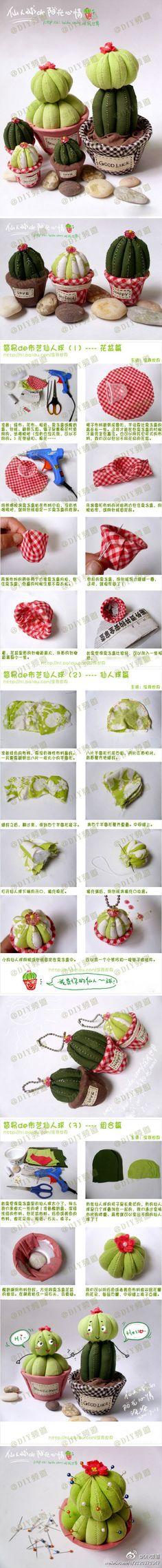 Cactus Pincushions • tutorial information shown in image.
