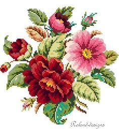 Small bouquet. Cross stitch pattern por rolanddesigns en Etsy