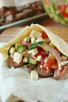 Greek Steak Salad Pita