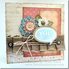 Pleated burlap ribbon and Clementine paper. Card by Tresa Black, Fabulously Artsy. #CTMH.