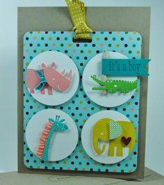 ZOO BABIES CARD card idea, cardbabi, baby cards, card babi, scrapbook idea, stampin, babi card, paper crafts, zoo babi