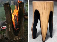 Logs set on fire to make stools.