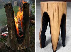 Logs set on fire to make stools.