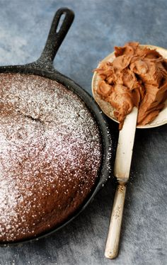 chocolate skillet cake with rich, homemade chocolate buttercream