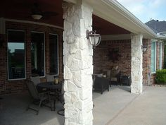 Stone columns with carriage lights on patio cover in Katy Grand Lakes by TexasCustomPatios, via Flickr
