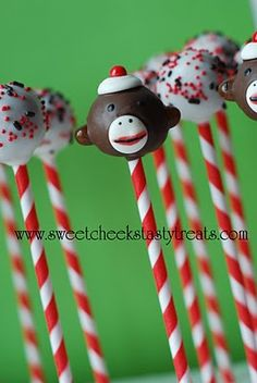 sock monkey cake pops