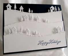 White & Navy Blue Christmas Card