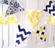 21 Flag Fabric Bunting, 9 Feet Party Banner, Navy Blue, Yellow Chevron Stripes, Argyle, Flowers, Leaves, Summer Wedding Decor, Baby Nursery. $32.00, via Etsy.