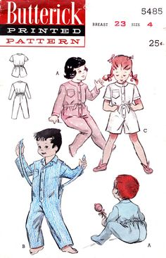 1950s Girls Pajamas Vintage Sewing Pattern Boys by OpalsOwlVintage, $7.00
