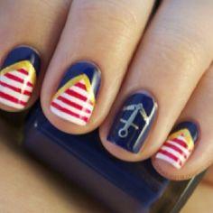 sailor theme, ring finger, manicur, nail polish art, nail arts, nautic nail, finger nails, anchor, nautical nails
