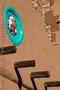 Detail of an old building on the plaza, in Las Vegas, New Mexico.