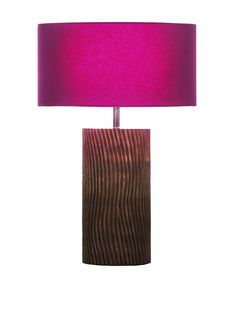 Filament Carved Wooden Base Table Lamp, Brown/Fuchsia at MYHABIT