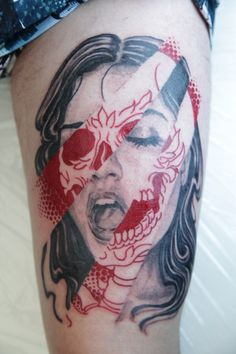 via 1337 skull tattoo ideas for girls, skulls, tattoo women, thigh tattoos, tattooink, red tattoos, a tattoo, art attack, tattoo ink