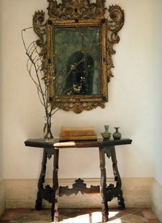 decor, interior design, design interior, frame, vignett, antique mirrors, interiors, console tables, table legs