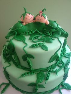 Two Peas In a Pod cake - Twins' baby shower - *