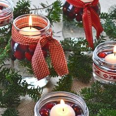 Christmas Table Decor Ideas - Mason Jar Candle Holders - Click pic for 29 Christmas Craft Ideas