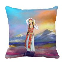 Masis Ararat lady Armenia Throw Pillow