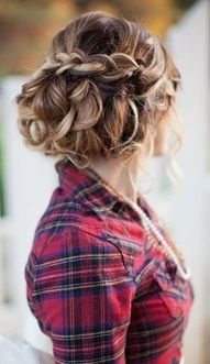 maybe?? or something similar? french braids, bridesmaid hair, blondes, long hair, wedding hairs, beauti, hairstyl, prom, shirt
