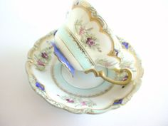 Hand Painted Tea Cup and Saucer Set  Vintage  Made by CraZyDreamZ, $20.00