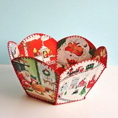 DIY Vintage Christmas Card Bowl--My mother had one of these made in the 50s.  Great way to make use of old Christmas cards.  Link includes instructions.  Here's the link to the pattern:  http://familycrafts.about.com/library/nosearch/ChristmasCardBowl.pdf
