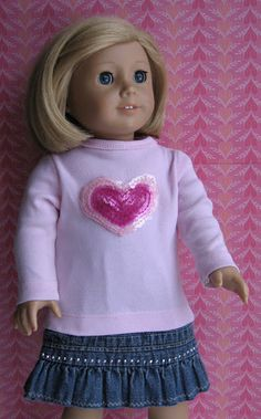 februari 2012, doll clothes, season, heart tee, ag doll, tee shirts, children clothing, denim skirts, american girls