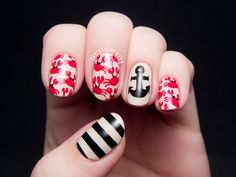 Crab Print and Nautical Mix by @chalkboardnails #31DC2014