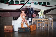 aviation themed wedding and cowboy boots!