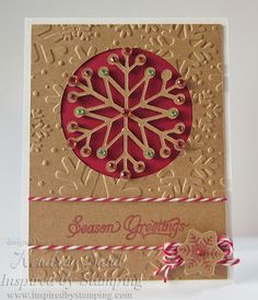 handmade card from Inspired from Stamping by  Kendra Sand ... winter/Christmas card ... kraft base and die cut snowflake ... red ink and negative circle filll ... like the embossing folder texture with a smooth band for the sentiment ...