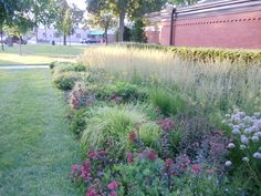 A contemporary perennial garden installed at the Lake Geneva public library by Roy Diblik, co-owner of Northwind Perennial Farm in Burlington, WI.