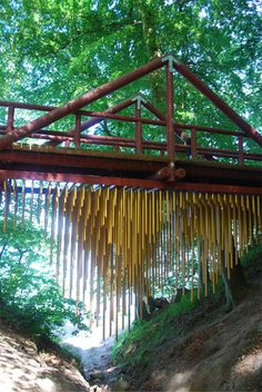 Bridge with chimes you can play underneath   #garden #kids #play #equipment  #music