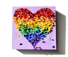 Paper Rainbow Butterfly Heart on Purple Canvas! This one has it all for Dana!
