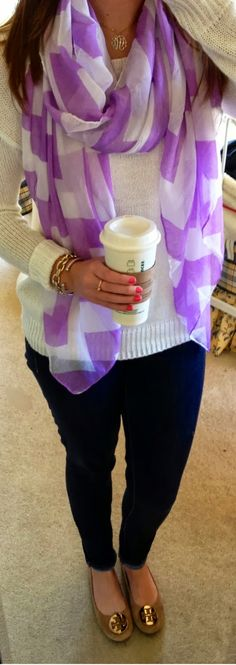 sweater, fashion, purple, tory burch, scarves
