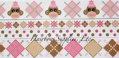 Girly Sock Monkey 4 yards Grosgrain Ribbon by HairbowSuppliesEtc