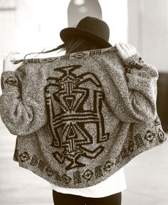 Tribal Print Slouchy Cardigan Sweater