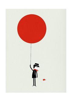 Red balloon print.