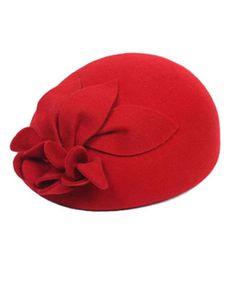 Red Twin Flower Wool Beret