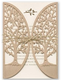 "This #weddinginvitation set is something to ""tweet"" about! A laser-cut wrap of kraft paper features two leafy trees. Inside is a thermography #invitation with two lovebirds and your wedding wording. Add an optional jute cord to complete the look. Invitations by David's Bridal Style ""Love Is Tweet"""