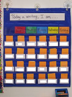 Tracking student's writing progress....seriously so GENIUS! I only knew about dropping clothespin in bucket, etc. to let you know which students are done w/ assignment, but THIS method can track the chaotic writing processing that require the student to complete multiple tasks ; )