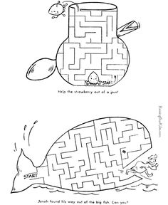 Jonah and the whale... good maze for church book