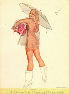 nudy rain alberto varga, fashion blogs, art, georg petti, pinup, vintage girls, may flowers, april showers, calendar