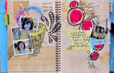 smash smash, art journal, journalscrapcollag art, smashbook, smash book, bucket, doodl, bright colors, book projects