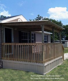 Mobile home #porch with flat roof by Ready Decks for Front Porch Ideas. Spacious and well designed, this porch will provide you with lots of outdoor time. Note the porch skirting which gives it a finished look. #mobilehome